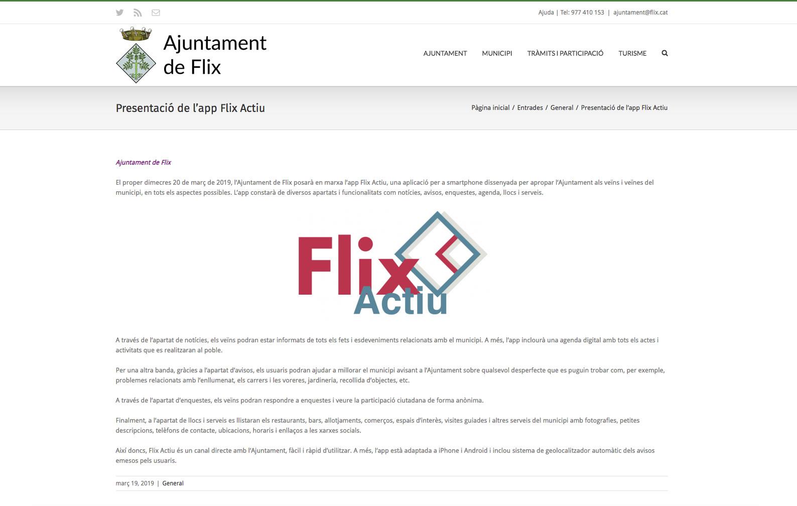 Presentación de la app Flix Actiu