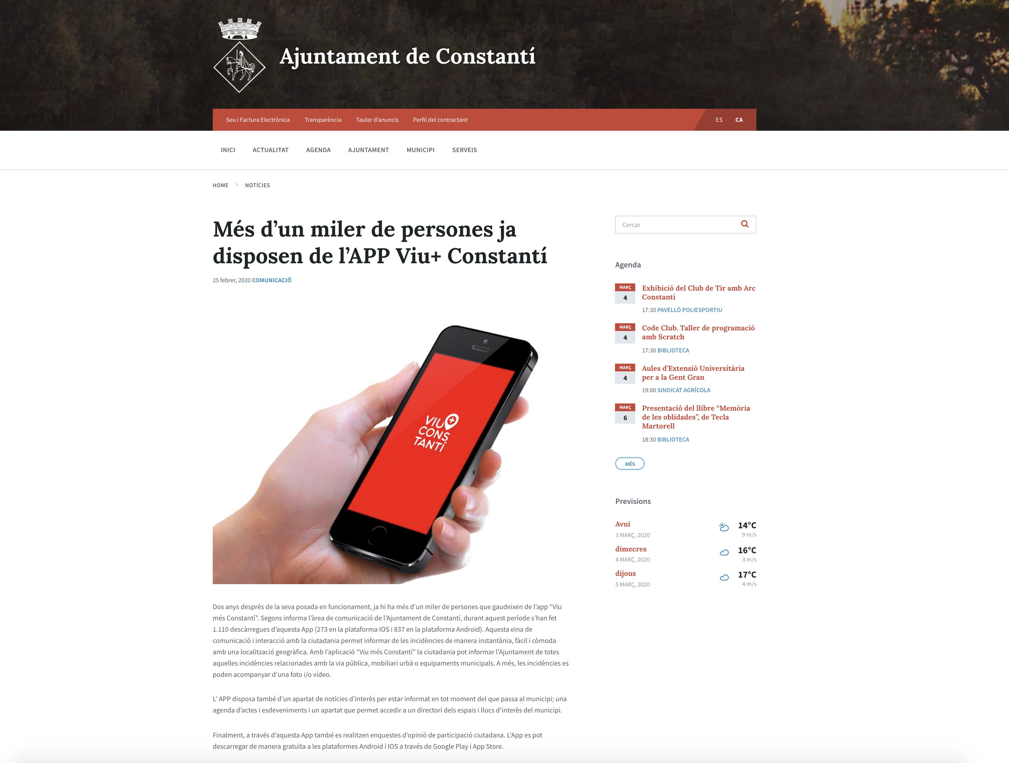 Más de un millar de personas ya disponen de la APP Viu+ Constantí